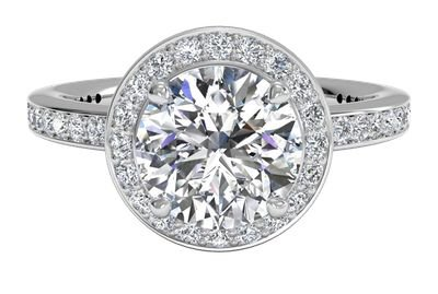 10.02 ct Halo Micropavé Diamond Band Engagement Ring