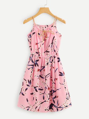 Braided Bead Strap Tie Floral Print Random Dress