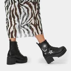 Astro Silver Star & Moon Chunky Boots | Koi