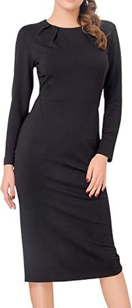 Marycrafts Women's Work Office Business Long Sleeve Pencil Midi Dress at Amazon Women's Clothing store