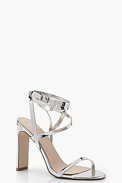 Poppy Skinny Block Wrap Strap Heels