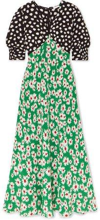 RIXO - Martha Printed Silk Crepe De Chine Midi Dress - Green