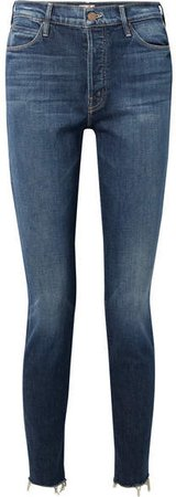 The Stunner Frayed High-rise Skinny Jeans - Dark denim