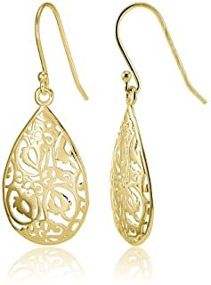 Amazon.com : gold delicate drop earrings filligree