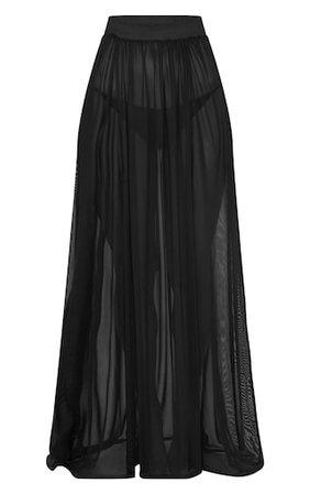 Minah Black Mesh Maxi Skirt | PrettyLittleThing USA
