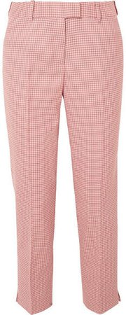 Cefinn - Tatum Cropped Houndstooth Wool-blend Straight-leg Pants - Pink