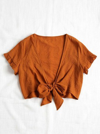Knotted coral blouse
