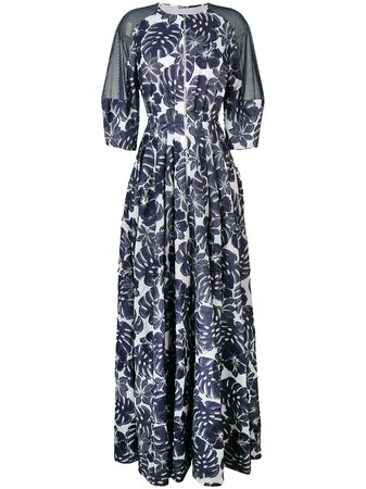 Shop blue Talbot Runhof floral coupé gown with Express Delivery - Farfetch