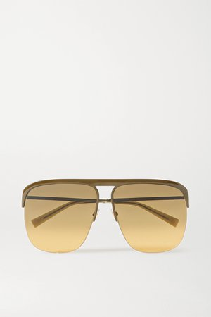 Army green Oversized D-frame metal sunglasses   Givenchy   NET-A-PORTER