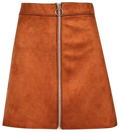 **Only Rust Faux Suede Skirt