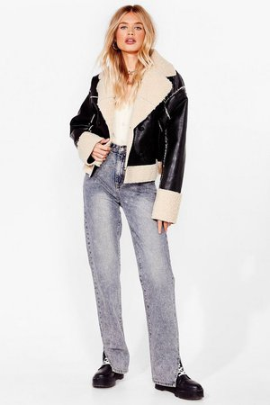 BORG LINED LEATHER JACKET | Nasty Gal