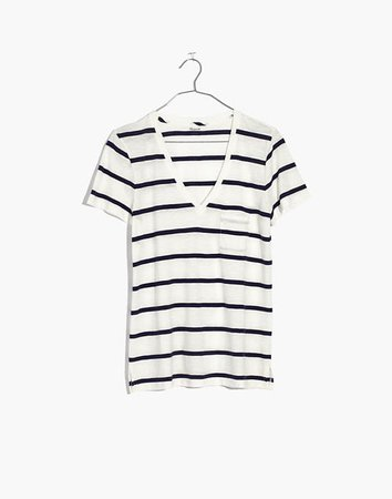 Women's Whisper Cotton V-Neck Pocket Tee in Creston Stripe | Madewell