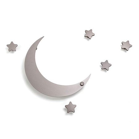 SDH Decorative Coat Hooks Wall Mounted, Wall Decoration, Moon and Stars Theme, Modern, Heavy Duty, Garment Friendly, Pack of 5 Star Hooks and 1 Moon Hook,Silver Color: Amazon.ca: Home & Kitchen