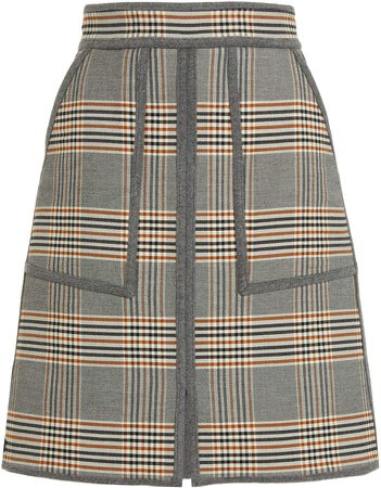 Martin Grant Check Cotton-Wool Mini Skirt