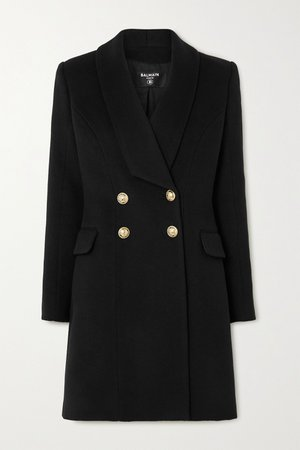 Black Double-breasted wool and cashmere-blend coat | Balmain | NET-A-PORTER