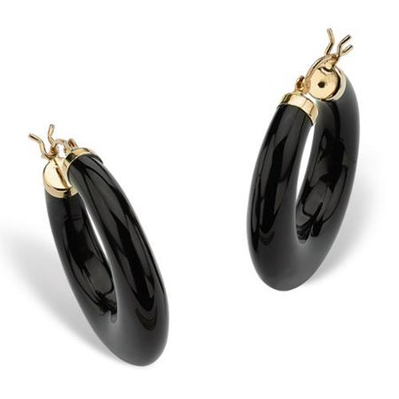 Palm Beach Jewelry PalmBeach Reconstituted Black Onyx 14k Yellow Gold Hoop Earrings Naturalist - Walmart.com