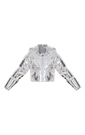 Silver Metallic Crop Puffer Jacket | PrettyLittleThing USA