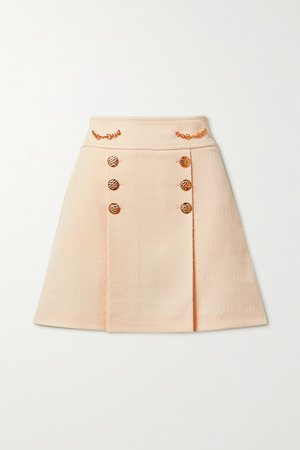 Cream Horsebit-detailed wool-jacquard mini skirt | Gucci | NET-A-PORTER