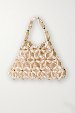 Daisy Faux Pearl And Gold-tone Tote - Ivory