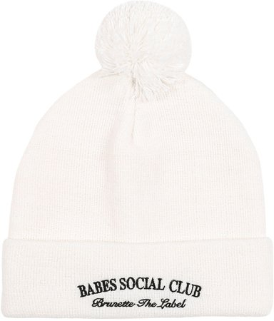 Brunette The Label Babes Embroidered Beanie