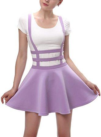 Urban CoCo Womens Elastic Waist Pleated Short Braces Skirt (XL, Lavender) at Amazon Women's Clothing store