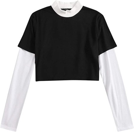 SweatyRocks Women's Color Block Dragon Print Long Sleeve Crop Top T Shirt Black White X-Large at Amazon Women's Clothing store