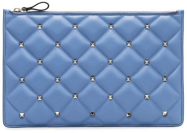 blue Quilted studded leather zip clutch bag