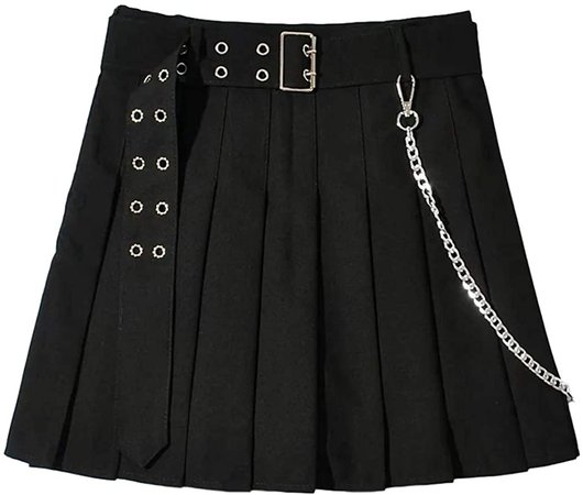 Amazon.com: TBGL Womens Pleated A-Line Skirts Goth Punk Buckle Chain Belt Black Skirt with Lining: Clothing