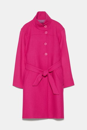 BELTED COAT WITH HIGH COLLAR - NEW IN-WOMAN   ZARA United States pink