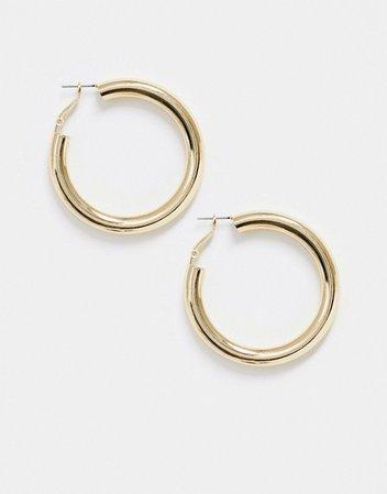 DesignB London chunky hoop earrings in gold | ASOS