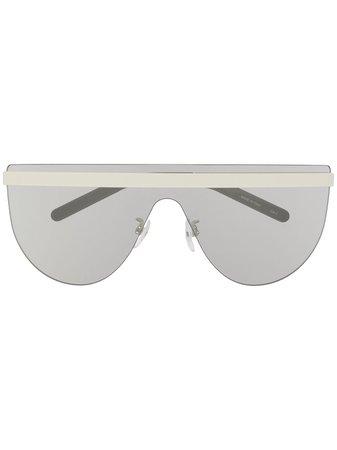 Courrèges Eyewear Flat Top Shield Sunglasses CL2005 White   Farfetch