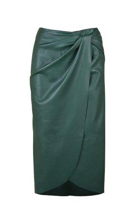 Kafka On The Shore Faux-Leather Midi Skirt By Johanna Ortiz   Moda Operandi