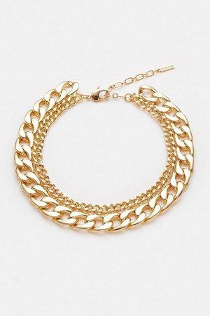 Gold Plated Statement Chain Mix Necklace | Karen Millen