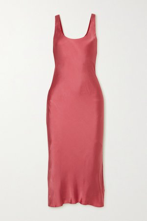 Coral The Evelyn open-back silk-blend charmeuse midi dress | Cami NYC | NET-A-PORTER