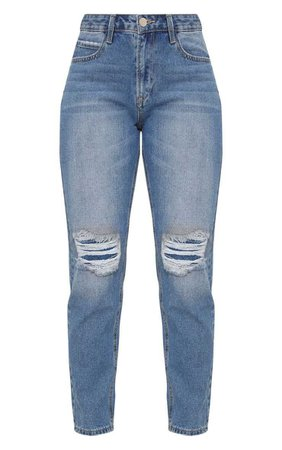 Pretty Little Thing MID WASH BOYFRIEND STYLE JEAN