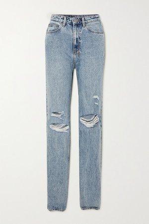 Playback Vibez Trashed Distressed High-rise Jeans - Light denim