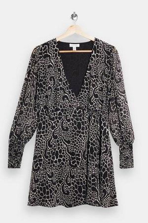 Black and White Shirred Mini Wrap Dress | Topshop