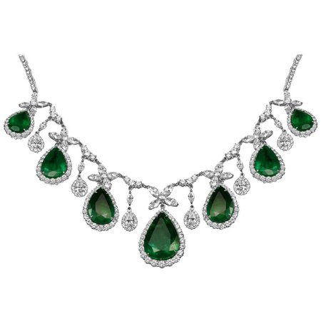 Emerald Pear Shape White Diamond Round and Marquis Halo Two-Color Gold Necklace For Sale at 1stDibs