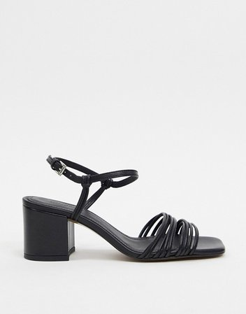 Whistles multi strappy leather sandals in black | ASOS