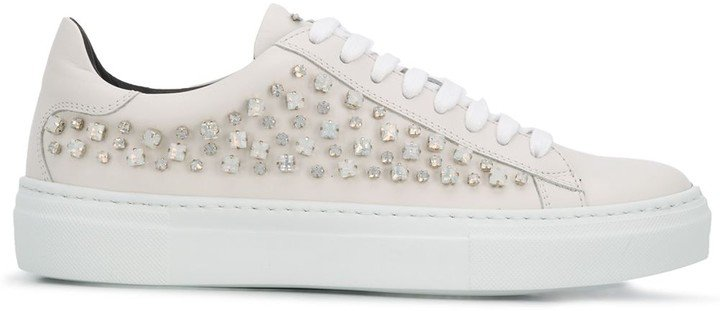 Crystal-Embellishment Low-Top Sneakers