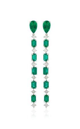 G-One Platinum Emerald, Diamond Earrings By Goshwara   Moda Operandi