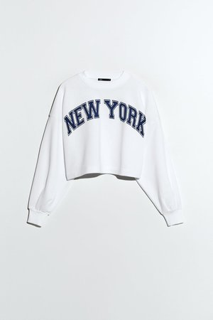crop white sweatshirt zara