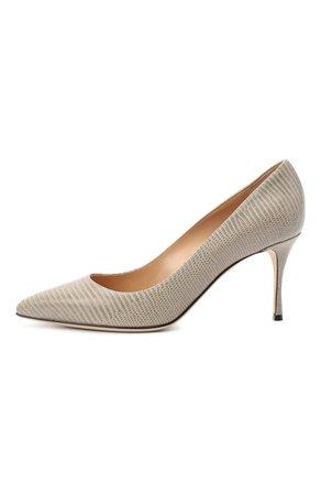 Женские светло-серые кожаные туфли godiva SERGIO ROSSI — купить за 56650 руб. в интернет-магазине ЦУМ, арт. A43841-MAGS03