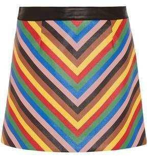 Sara Battaglia Striped Leather Mini Skirt