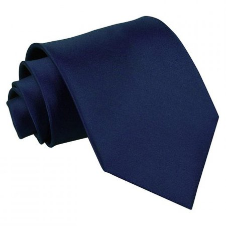Navy Blue Satin Extra Long Tie - James Alexander