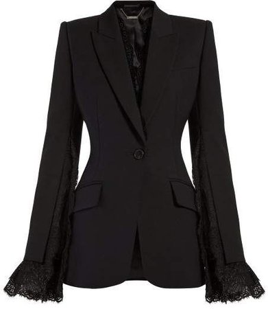 Alexander McQueen Lace Trimmed Single Breasted Blazer
