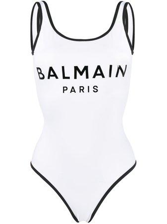 White Balmain printed logo swimsuit BPBU00200 - Farfetch
