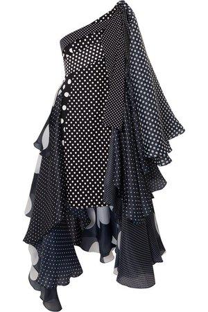 Richard Quinn | Asymmetric polka-dot taffeta dress | NET-A-PORTER.COM