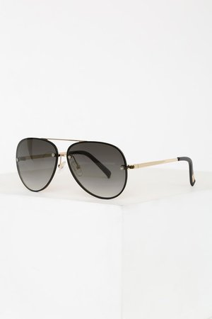 Chic Gold and Black Sunglasses - Gradient Aviator Sunnglasses
