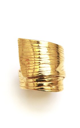 Round Gold Plated Textured Ring By Reggie | Moda Operandi